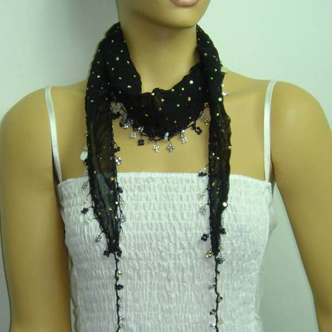 BLACK Handmade crocheted edged cotton oya scarf with sparkling spangles,shiny sequins, beads, and disks.