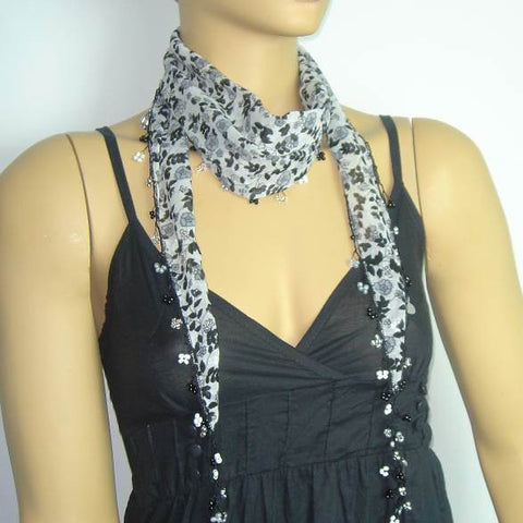 White Beaded Scarf Necklace with Black Flowers Printed - Handmade Crocheted Beaded Scarf - White scarf bandana