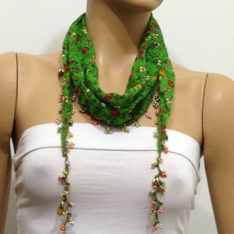 Green Beaded Scarf Necklace with Red Flowers Printed - Handmade Crocheted Beaded Scarf - Green scarf bandana