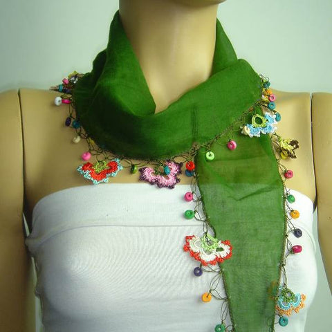 Olive Green Cotton Scarf with Crocheted flowers and multicolor beads