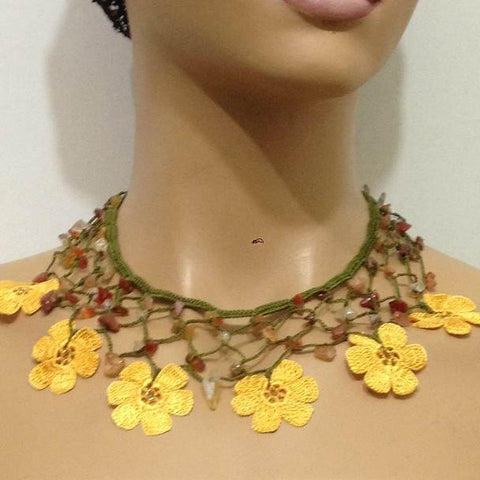 YELLOW Choker Necklace with Crocheted Flower and semi precious Agate Stones