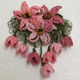 Pink Hand Crochet Brooch - Flower Pin- Gift for Mom - Gift for Mother - Gift for Her - Unique Lace Brooches Jewelry - Fabric Flower Brooch