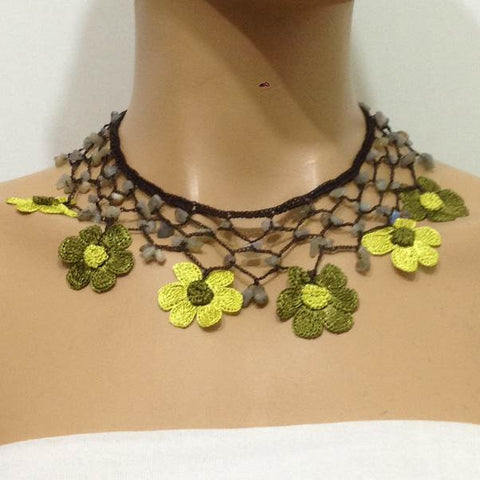 Olive Green and Yellow Daisy Choker Necklace with Crocheted Flower and semi precious green Stones