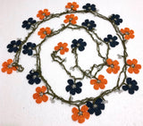 ORANGE and NAVY Crochet beaded flower lariat necklace with white beads