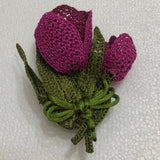 Cyclamen pinkish purple Plum color 3D Tulip Hand Crochet Oya Brooch - Flower Pin- Gift for Mom - Gift for Mother - Gift for Her - Unique Lace Brooches Jewelry - Fabric Flower Brooch