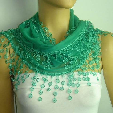 Green fringed edge scarf - Scarf with Lace Fringe