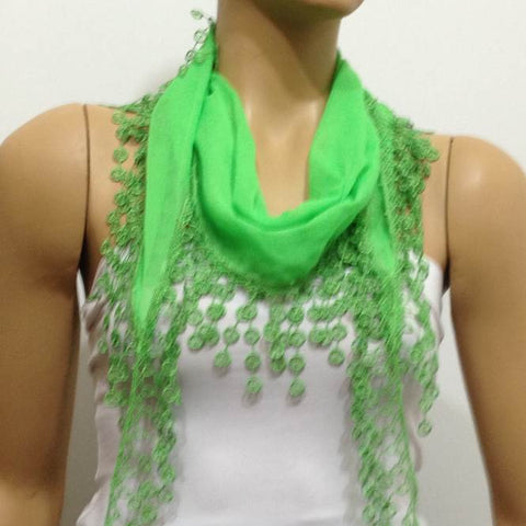 Apple Green fringed edge scarf - Scarf with Lace Fringe