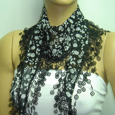 Black with white flowers printed fringed edge scarf - Scarf with Lace Fringe