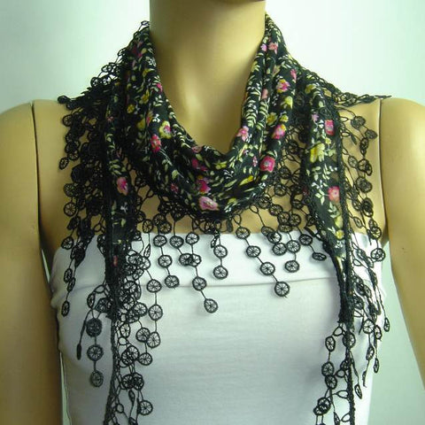 Black with Pink flowers printed fringed edge scarf - Scarf with Lace Fringe