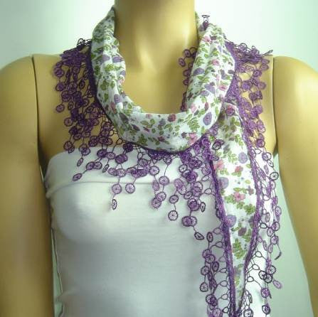 White with Purple and Lilac flowers printed and PURPLE fringed edge scarf - Scarf with Lace Fri