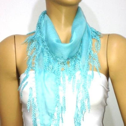 Aqua Blue fringed edge scarf - Scarf with Lace Fringe
