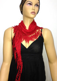 Red fringed edge scarf - Scarf with Lace Fringe