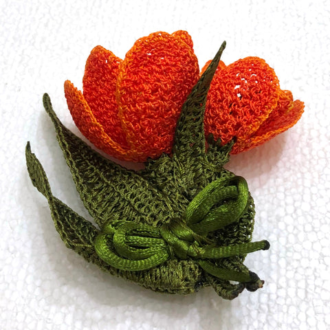 Orange 3D Tulip Hand Crochet Oya Brooch - Flower Pin- Gift for Mom - Gift for Mother - Gift for Her - Unique Lace Brooches Jewelry - Fabric Flower Brooch