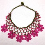 Pink Choker Necklace with Crocheted Flower Oya