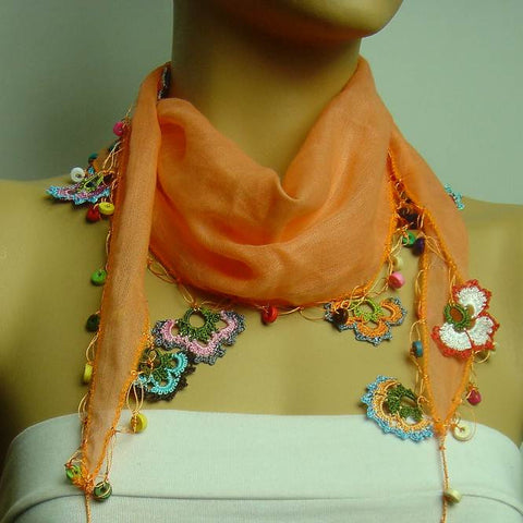 Orange scarf with handmade multi color oya flowers