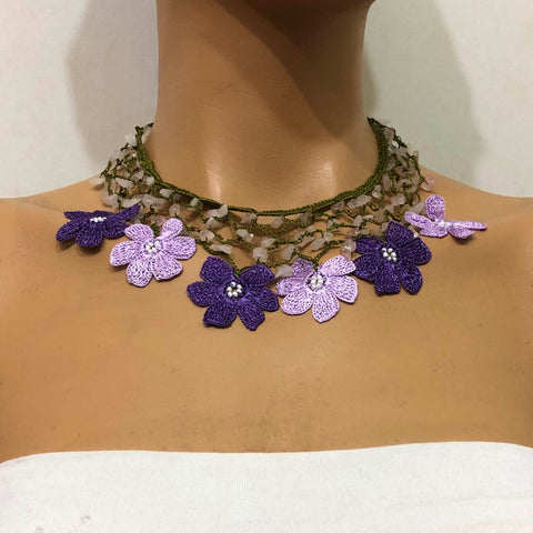 Lilac and Purple Choker Necklace with Crocheted Flower Oya