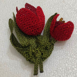 Red 3D Tulip Hand Crochet Oya Brooch - Flower Pin- Gift for Mom - Gift for Mother - Gift for Her - Unique Lace Brooches Jewelry - Fabric Flower Brooch