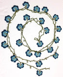 BLUE Crochet beaded flower lariat necklace with beads - Crochet Accessory - Turkish Crochet Oya -Turkish Crochet Lace - Crochet Jewelry