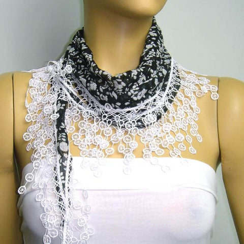 Black with white flowers printed and WHITE fringed edge scarf - Scarf with Lace Fringe
