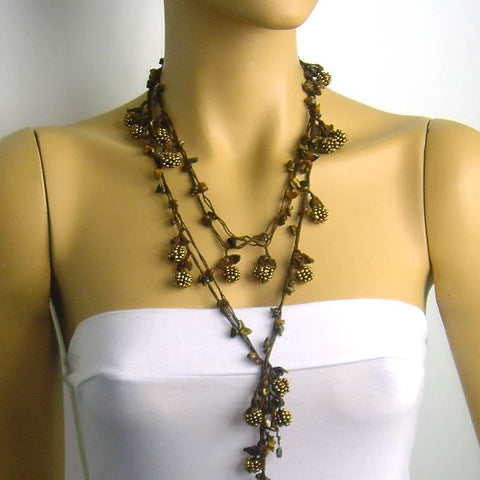Copper Crochet berry bead oya with tiger eye semi-precious stones - Berry Necklace - Beaded Lariat -  Necklace Lariat Necklace