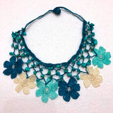 Blue Beige Turqoise Choker Necklace with Crocheted Flower Oya and Turquoise Stones