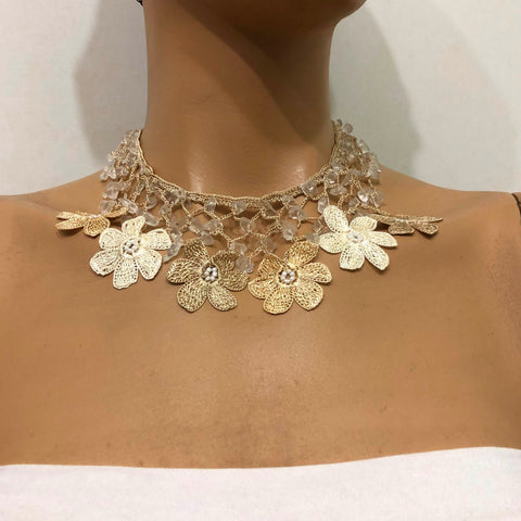 Taupe and Beige Choker Necklace with Crocheted Flower Oya