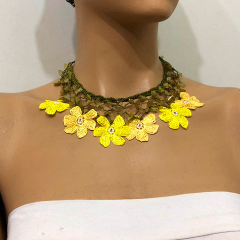 Yellow Choker Necklace with Crocheted Flower Oya