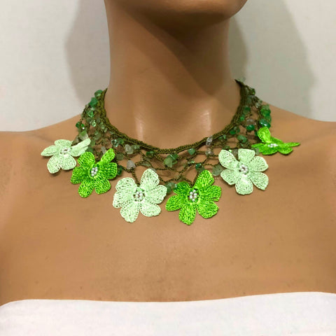 Green Choker Necklace with Crocheted Flower Oya  botanical  chartreuse green