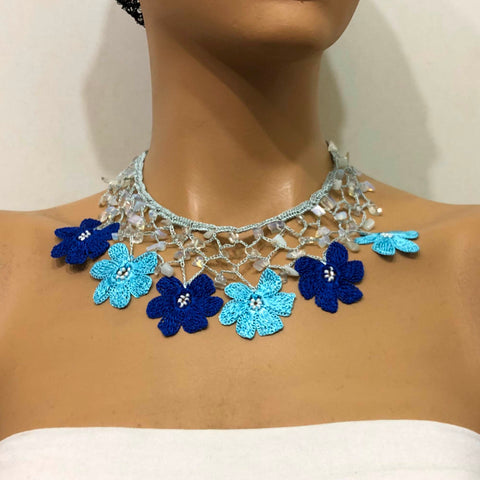 Blue Choker Necklace with Crocheted Flower Oya