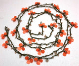 Salmon and Orange 3 Leaf Clover Crochet beaded flower lariat necklace with beads - Crochet Accessory - Turkish Crochet Oya - OYA Turkish Crochet Lace - Crochet Jewelry