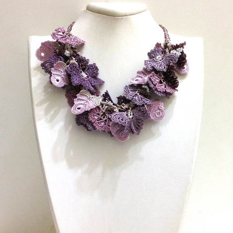 Lilac,Purple, Pink Lavender Bouquet Necklace - Turkish Crochet Lace Necklace