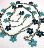 Turquoise and Dark Blue Crochet beaded flower lariat necklace with beads - Crochet Accessory - Turkish Crochet Oya - OYA Turkish Crochet Lace - Crochet Jewelry