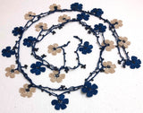 Blue and beige Crochet beaded flower lariat necklace with beads - Crochet Accessory - Turkish Crochet Oya - OYA Turkish Crochet Lace - Crochet Jewelry