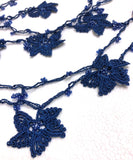 Royal Blue Crochet beaded flower lariat necklace with beads - Crochet Accessory - Turkish Crochet Oya - OYA Turkish Crochet Lace - Crochet Jewelry