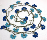 Turquoise and Lapis Blue Crochet beaded flower lariat necklace with beads - Crochet Accessory - Turkish Crochet Oya - OYA Turkish Crochet Lace - Crochet Jewelry