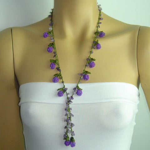 Purple Berry Tied necklace with Semi-precious Amethyst Stone