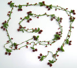 RED CHERRY Lariat Necklace - Red Crocheted Necklace
