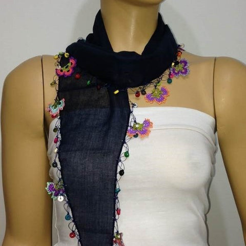 Navy Cotton Scarf with Crocheted flowers and multicolor beads