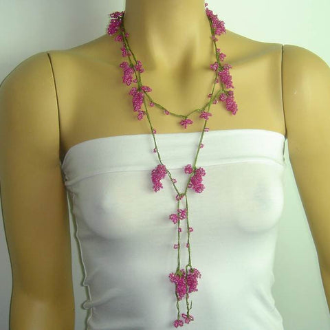 PINK Grape Lariat Necklace - Pink Crocheted Necklace