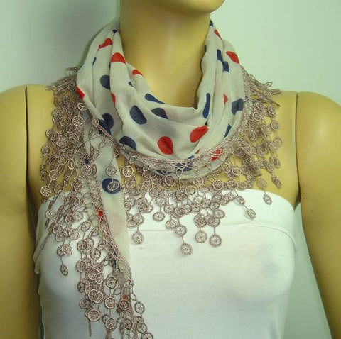 Taupe with Red and Navy polka dot printed and Taupe fringed edge scarf - Beige Scarf with Lace Fringe