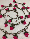 Fuchsia Pink Rose Crochet beaded flower lariat necklace with beads -  Fuschia Crochet Accessory - Turkish Crochet Oya - OYA Turkish Crochet Lace - Crochet Jewelry