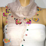 NUDE Pink cotton scarf with handmade multi color oya flowers - Powder pink Scarf