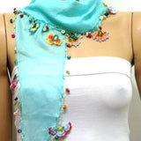 Crocheted Ice blue scarf with handmade multi color oya flowers - AQUA Green Scarf