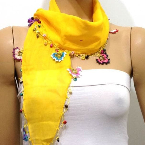 YELLOW Cotton Scarf with Crocheted flowers and multicolor beads