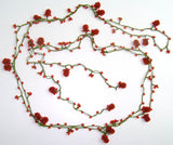 RED Strawberry Lariat Necklace - Red Crocheted Necklace