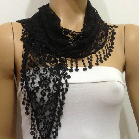 Black Lace  Scarf with Fringe