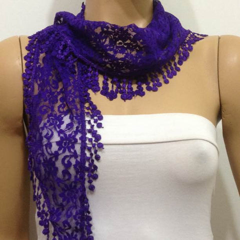 PURPLE  Lace  Scarf with Fringe