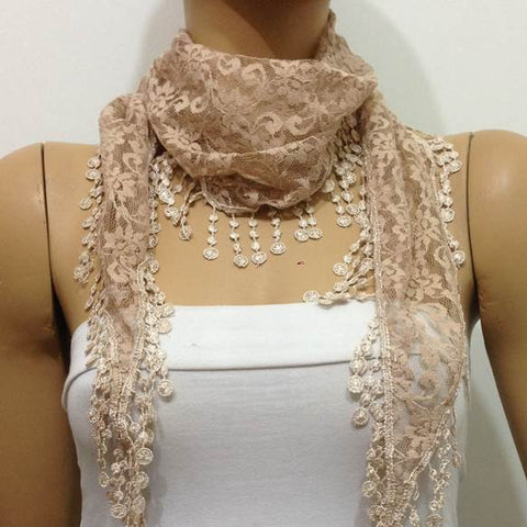 CHAMPAGNE Lace scarf with lace fringe - Elegant Champagne Scarf