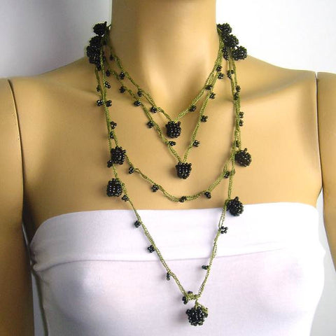 Blackberry crocheted lariat with green string