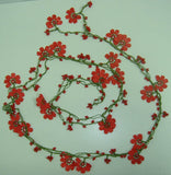 OYA WHOLESALE - Coral RED Crochet beaded flower lariat necklace